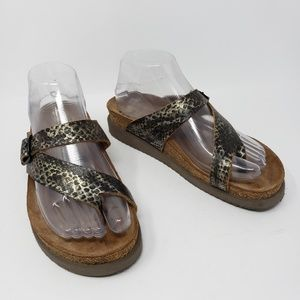 Mephisto Helen Snake Print Leather Footbed Sandals